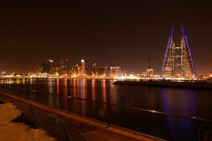 A view of Bahrain at night.