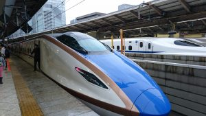 A Japanese bullet train preparing to start its journey.