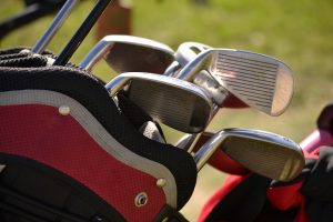 Golfing equipment packed in a golfing bag.