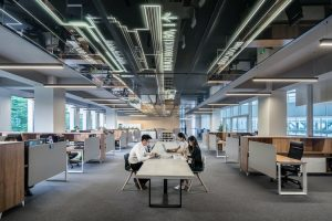 A large office space that is based on an open concept.