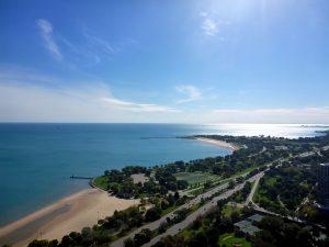 Lake Michigan and a park