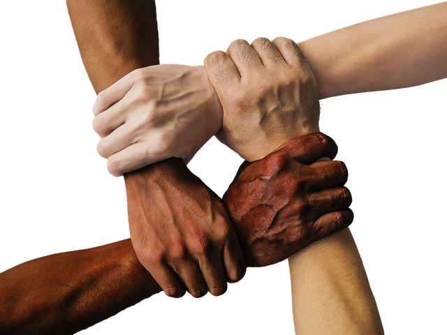 four hands holding each other symbolizing people helping you organize a move in two weeks