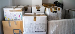Packed moving boxes