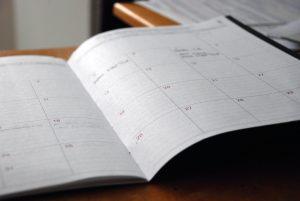 A paper schedule.