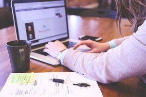 Planning on laptop.
