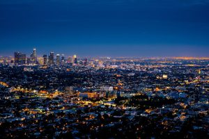 The view of Los Angeles, one of the favorite California cities.